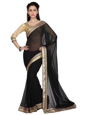 Designer Sareez Chiffon Embroidered Saree - Black - 1710