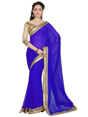 Designer Sareez Chiffon Embroidered Saree - Royal Blue - 1716