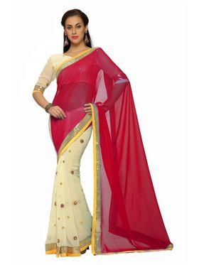Designer Sareez Faux georgette Embroidered Saree - Cream and Red