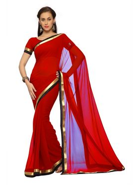 Designer Sareez Faux georgette Printed Saree - Dark Red