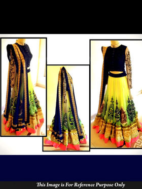 Ethnic Trend Net Embroidered Lehenga - Multicolour - 5345