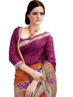 Ethnic Trend Cotton Printed Saree - Multicolour - 10039