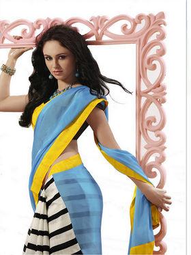 Ethnic Trend Chiffon Printed Saree - Multicolour - 11040