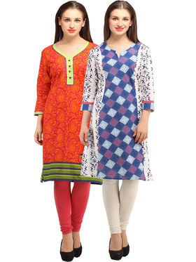 Pack of 2 Branded Cotton Printed Kurti -ewsk08