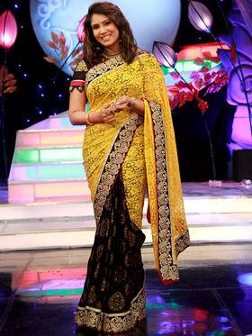 Elegant Yellow & Black Designer Saree from Aaha Enna Porutham (4615C)