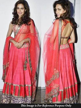 Ethnic Trend Net+Silk Georgette Embroidered Lehenga - Pink - 400