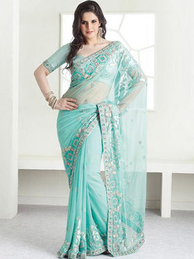Ethnic Trend Net Embroidered Saree - Sky Blue