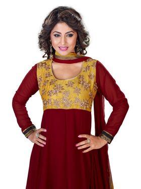 Fabfiza Embroidered Georgette Semi Stitched Anarkali Suit _FB-6548