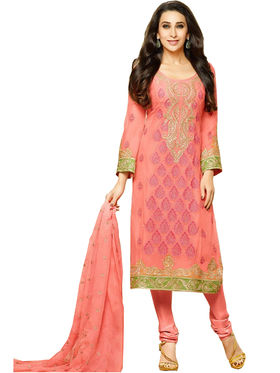 Fabfiza Embroidered Georgette Semi Stitched Straight Suit_FBEM2-67006