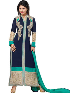 Fabfiza Embroidered Georgette Semi Stitched Straight Suit_FBHN3-55018