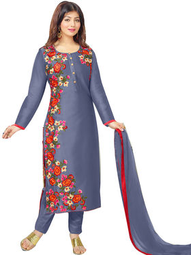Fabfiza Embroidered Cotton Semi Stitched Straight Suit_FBMO-010