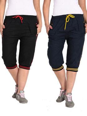 Combo of 2 Comfort Fit Cotton Capris for Women_pf01