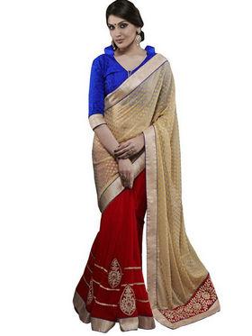 Bahubali Chiffon Embroidered Saree - Cream - RA.10120