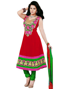 Florence Combric Cotton Embroidered Semi Stitched Anarkali Suits - Red - SB-2082