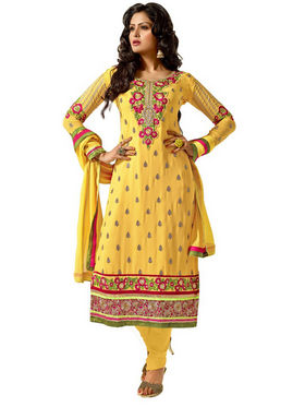 Florence Chiffon Embroidered Dress Material - Yellow - SB-2144