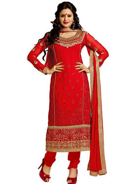 Florence Chiffon Embroidered Dress Material - Red - SB-2148
