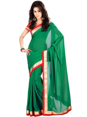 Florence Georgette Embriodered Saree - Green - FL-10170