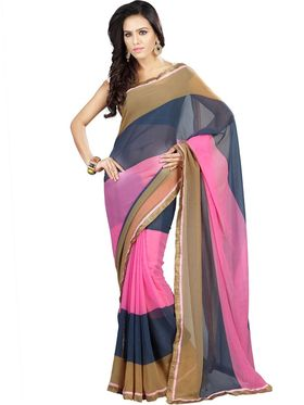 Florence Chiffon Emboridered  Saree - Pink with Blue