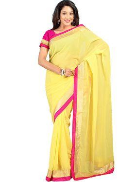Florence Chiffon Emboridered  Saree - Yellow
