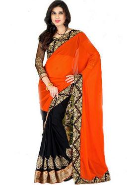 Florence Chiffon Embriodered Saree - Orange & Black - FL-10208