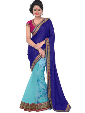 Florence Net Embriodered Saree - Blue - FL-10238