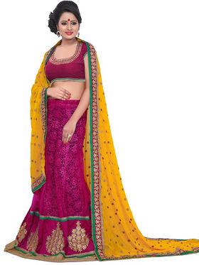 Florence Net Embriodered Lehenga - Yellow & Pink - FL-10244