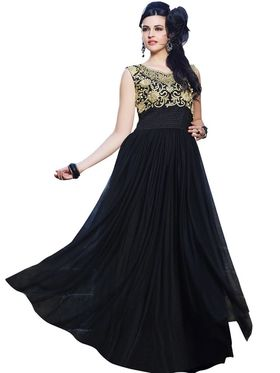 Florence Net & shantoon Embroidered Gown - Black