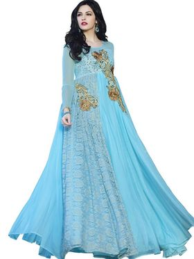 Florence Net & Brasso Embroidered Gown - Sky Blue