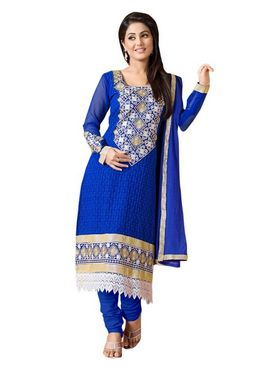 Florence Georgette  Embroidered Dress Material - Blue - SB-1807