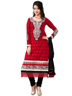Florence Georgette  Embroidered Dress Material - Red - SB-1843