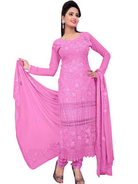 Florence Chiffon Embroidered Dress Material - Pink - SB-1910