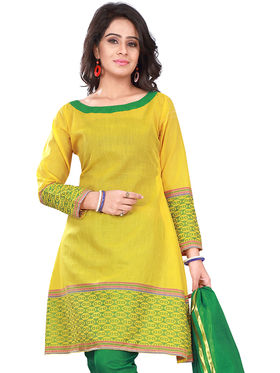 Florence Cotton Printed Dress Material - Yellow & Green - SB-2754