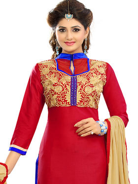 Florence Cotton Embroidered Dress Material - Red - SB-2798