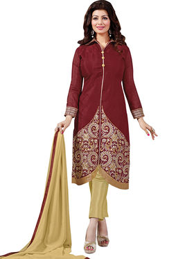 Florence Cotton Embroidered Dress Material - Maroon - SB-2807