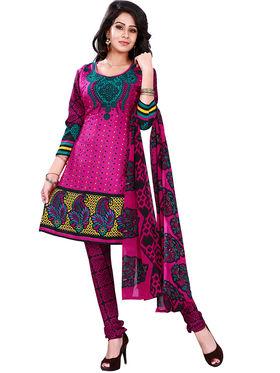Florence American Creap  Printed Dress Material - Pink - SB-2731