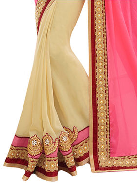 Indian Women Embroidered Chinon & Georgette Saree -Ga20214