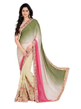 Khushali Fashion Embroidered Georgette Half & Half Saree_KF31