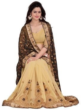 Khushali Fashion Embroidered Georgette Half & Half Saree_KF35