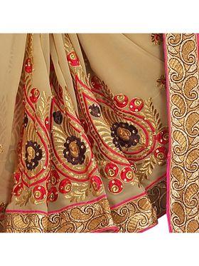 Khushali Fashion Embroidered Georgette Half & Half Saree_KF37