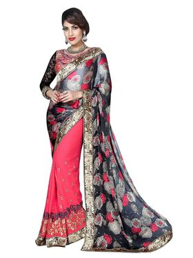 Khushali Fashion Embroidered Georgette Half & Half Saree_KF48