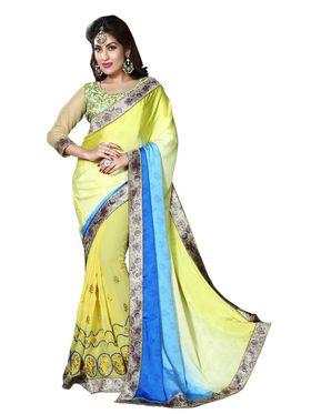 Khushali Fashion Embroidered Georgette Half & Half Saree_KF54
