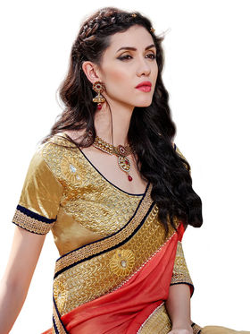 Branded Self Jacquard Printed Saree -HT70116