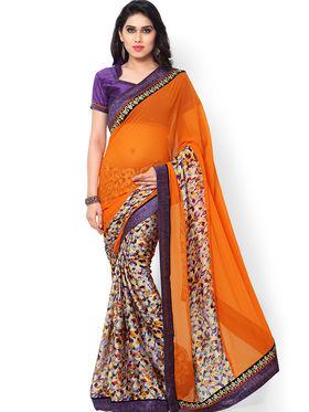 Indian Women Printed Satin Chiffon  Saree -ic14