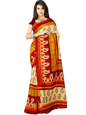 Inddus Bhagalpuri Silk Printed Saree - Red - IND-BC-12015-B