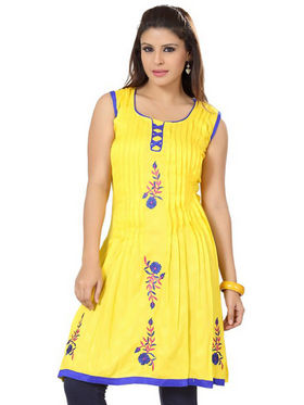 Ishin Poly Cotton Printed Kurti - Yellow_ADNK-325