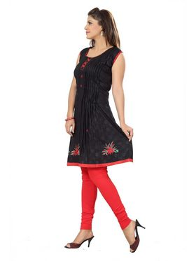 Ishin Poly Cotton Printed Kurti - Black_ADNK-331