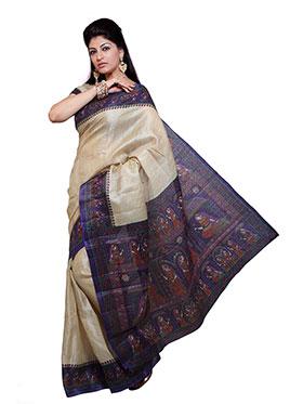 Ishin Printed Bhagalpuri Silk Saree - Beige-ISHIN-977