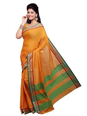 Ishin Printed Cotton Saree - Yellow