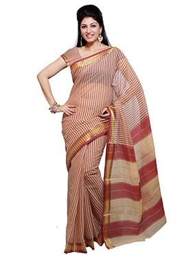 Ishin Printed Cotton Saree - Beige & Maroom
