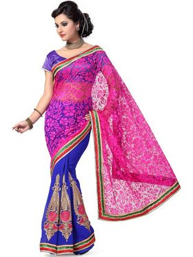 Ishin Net Embroidered Saree - Multicolour_ISHIN-1669